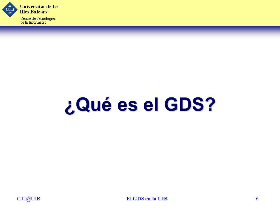 ¿Qué es el GDS CTI@UIB El GDS en la UIB