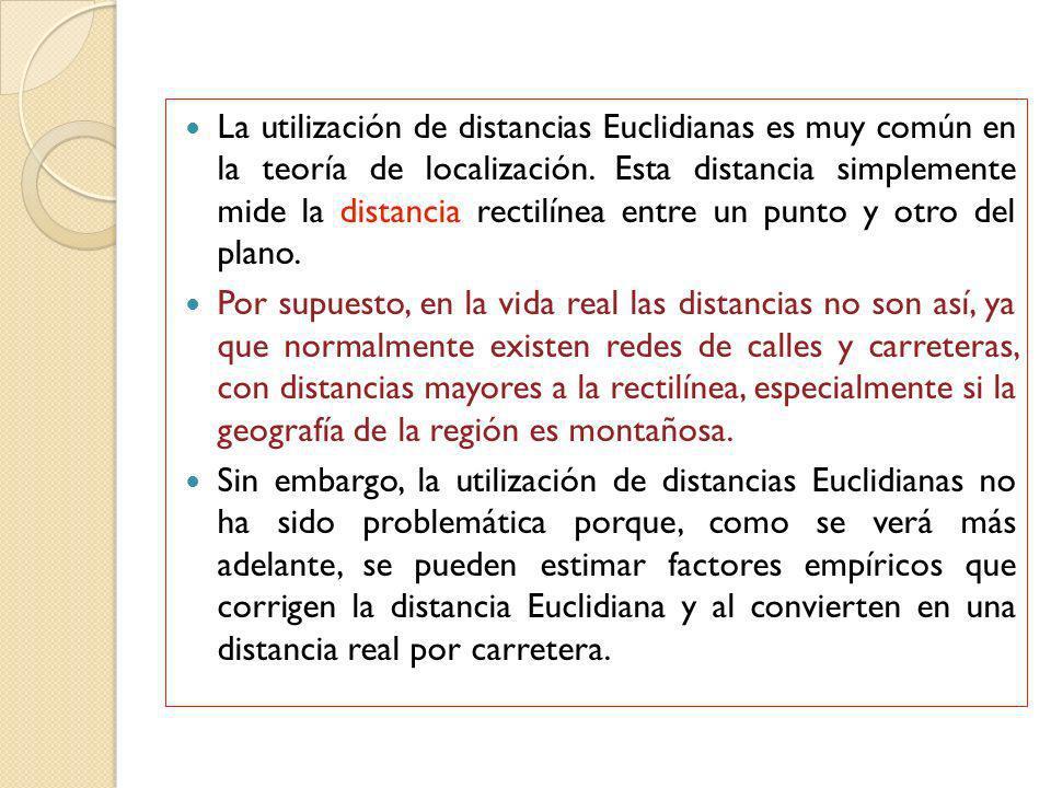 La utilización de distancias Euclidianas es muy común en la teoría de localización. Esta distancia simplemente mide la distancia rectilínea entre un punto y otro del plano.