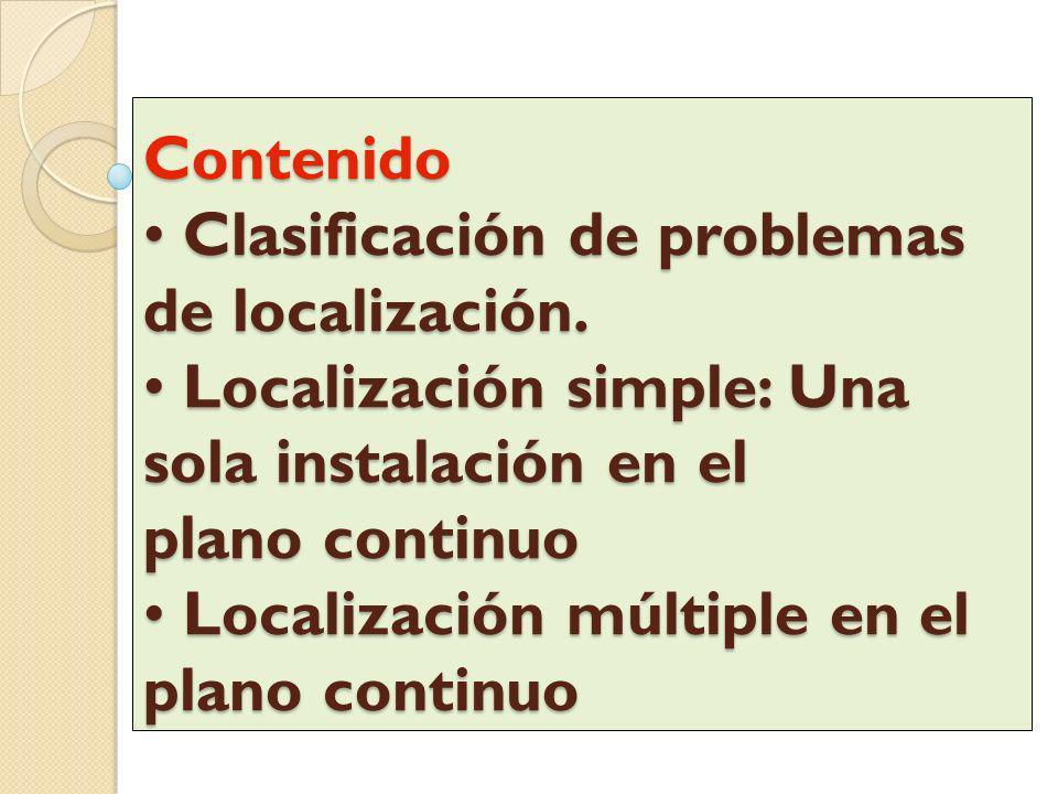Contenido • Clasificación de problemas de localización