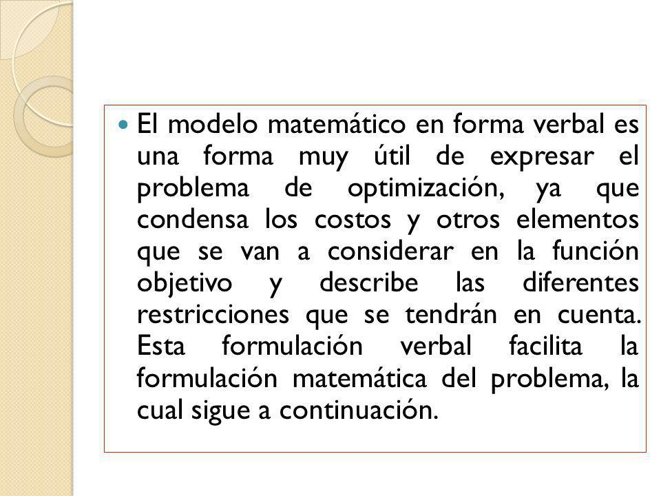 El modelo matemático en forma verbal es una forma muy útil de expresar el problema de optimización, ya que condensa los costos y otros elementos que se van a considerar en la función objetivo y describe las diferentes restricciones que se tendrán en cuenta.