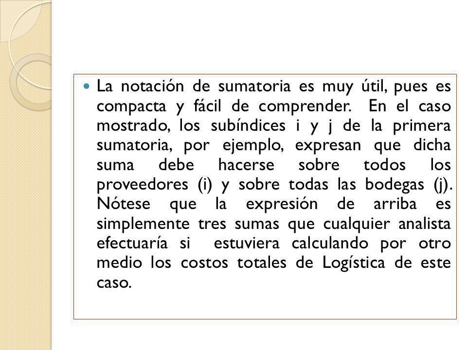 La notación de sumatoria es muy útil, pues es compacta y fácil de comprender.