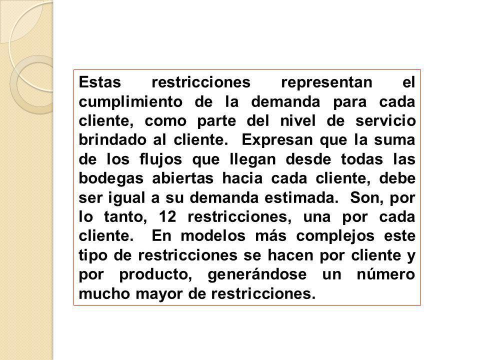 Estas restricciones representan el cumplimiento de la demanda para cada cliente, como parte del nivel de servicio brindado al cliente.