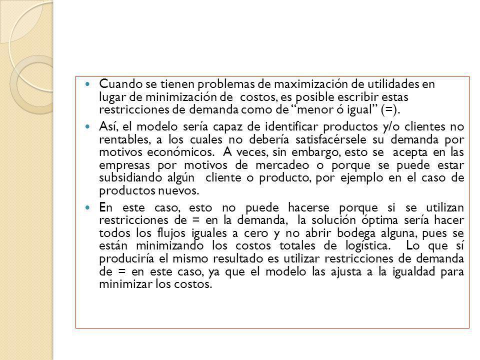 Cuando se tienen problemas de maximización de utilidades en lugar de minimización de costos, es posible escribir estas restricciones de demanda como de menor ó igual (=).