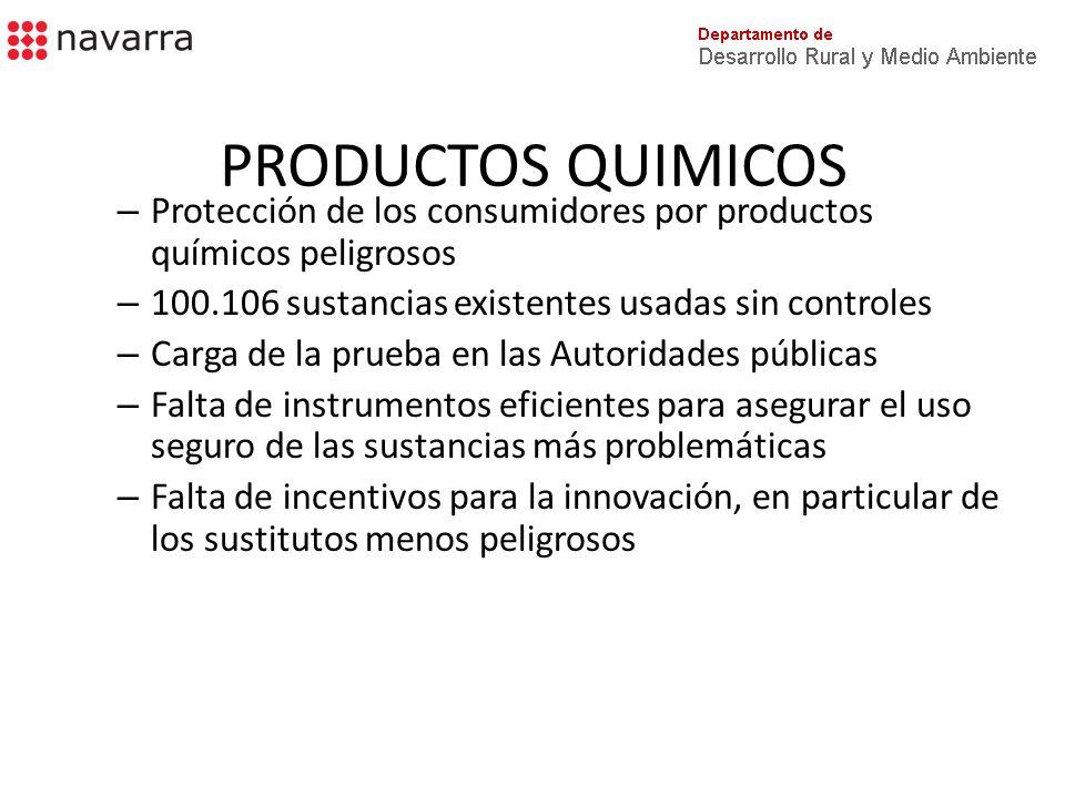 PRODUCTOS QUIMICOS Protección de los consumidores por productos químicos peligrosos. 100.106 sustancias existentes usadas sin controles.