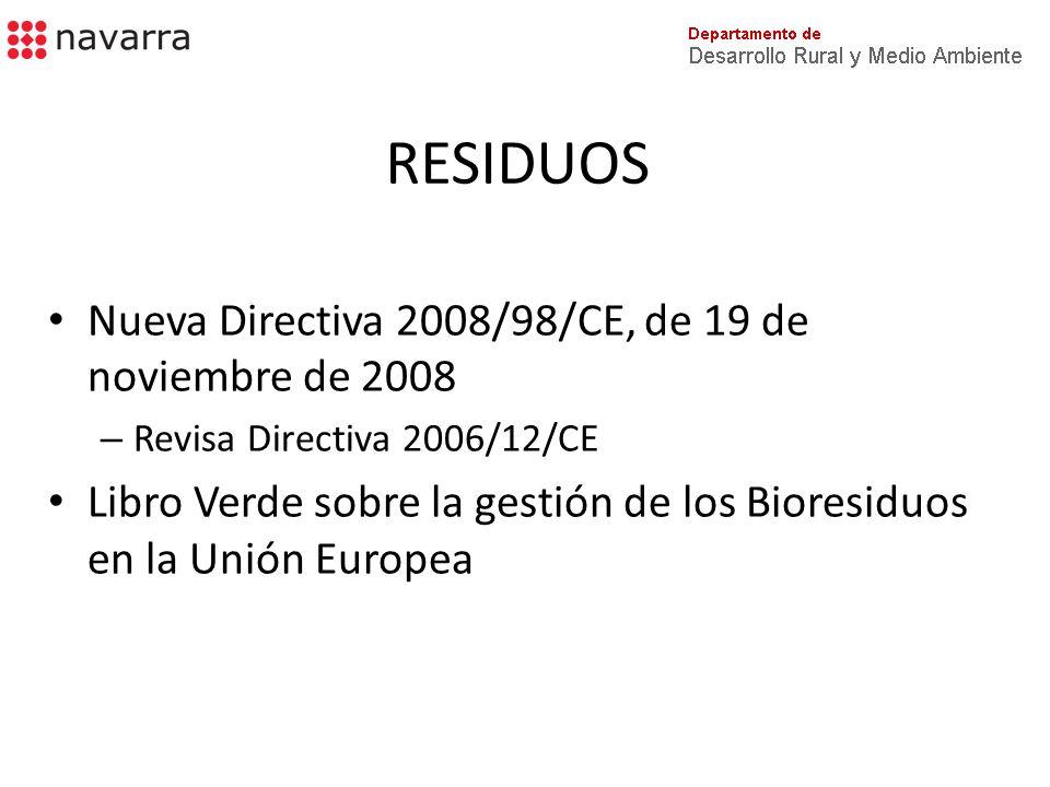 RESIDUOS Nueva Directiva 2008/98/CE, de 19 de noviembre de 2008