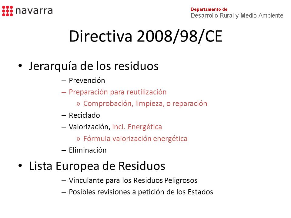 Directiva 2008/98/CE Jerarquía de los residuos