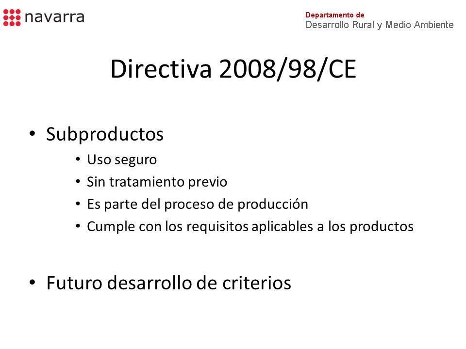 Directiva 2008/98/CE Subproductos Futuro desarrollo de criterios
