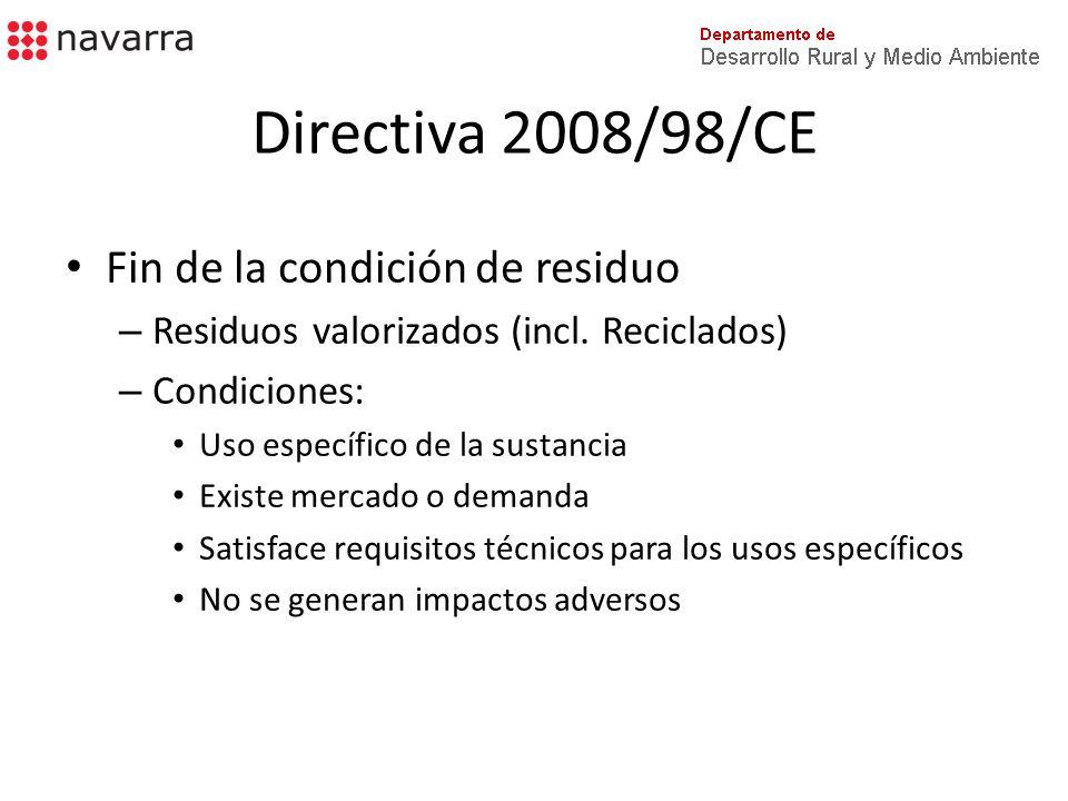 Directiva 2008/98/CE Fin de la condición de residuo