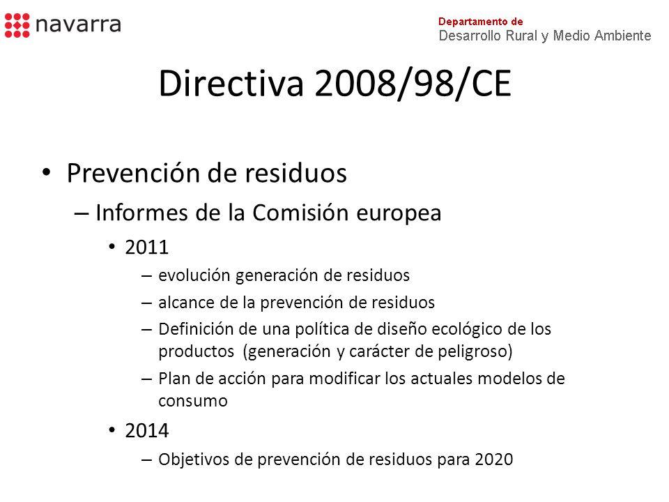 Directiva 2008/98/CE Prevención de residuos