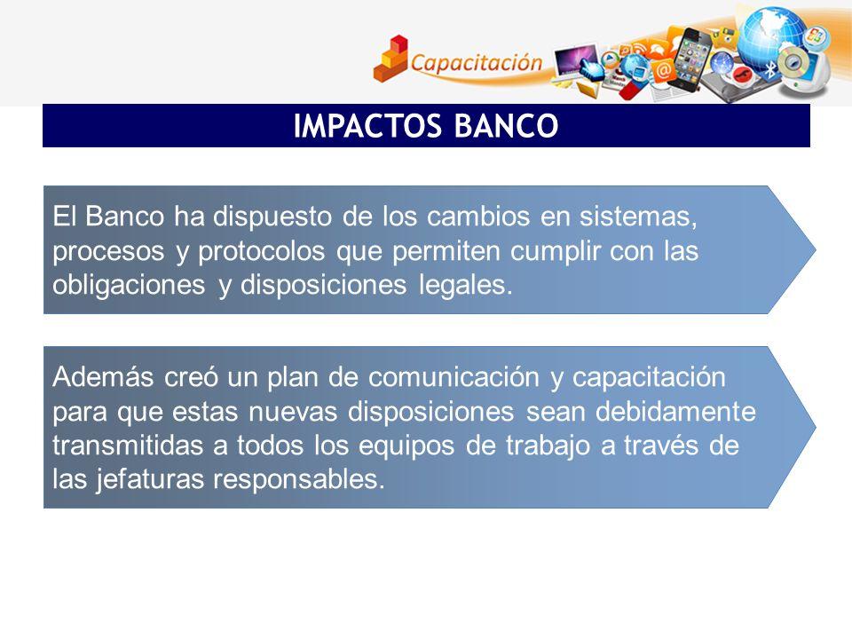 IMPACTOS BANCO El Banco ha dispuesto de los cambios en sistemas,