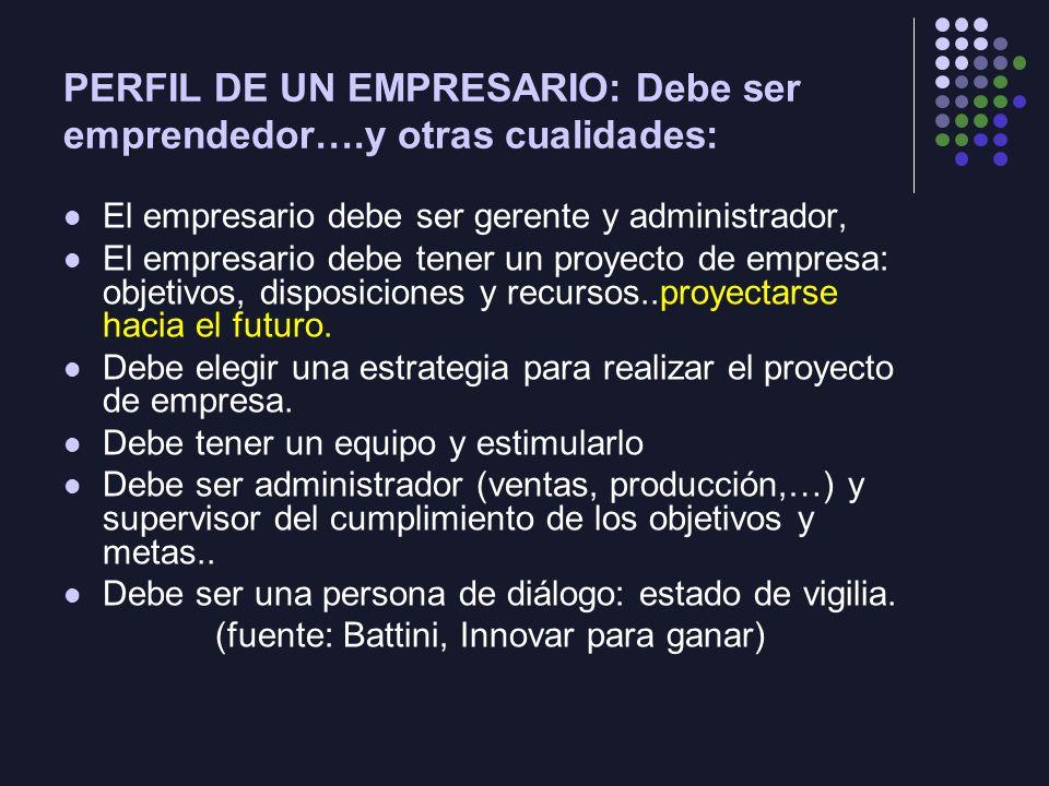 PERFIL DE UN EMPRESARIO: Debe ser emprendedor….y otras cualidades: