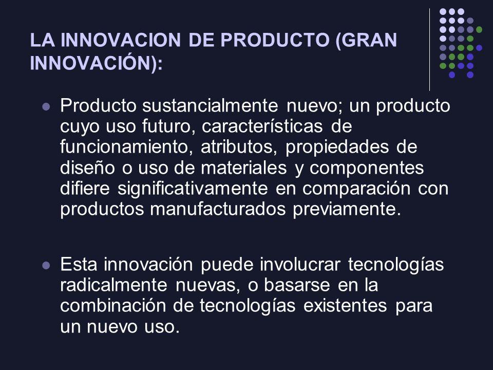 LA INNOVACION DE PRODUCTO (GRAN INNOVACIÓN):
