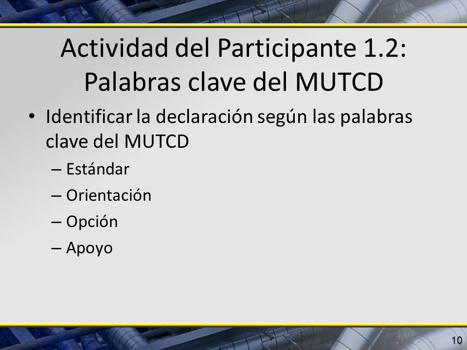Actividad del Participante 1.2: Palabras clave del MUTCD