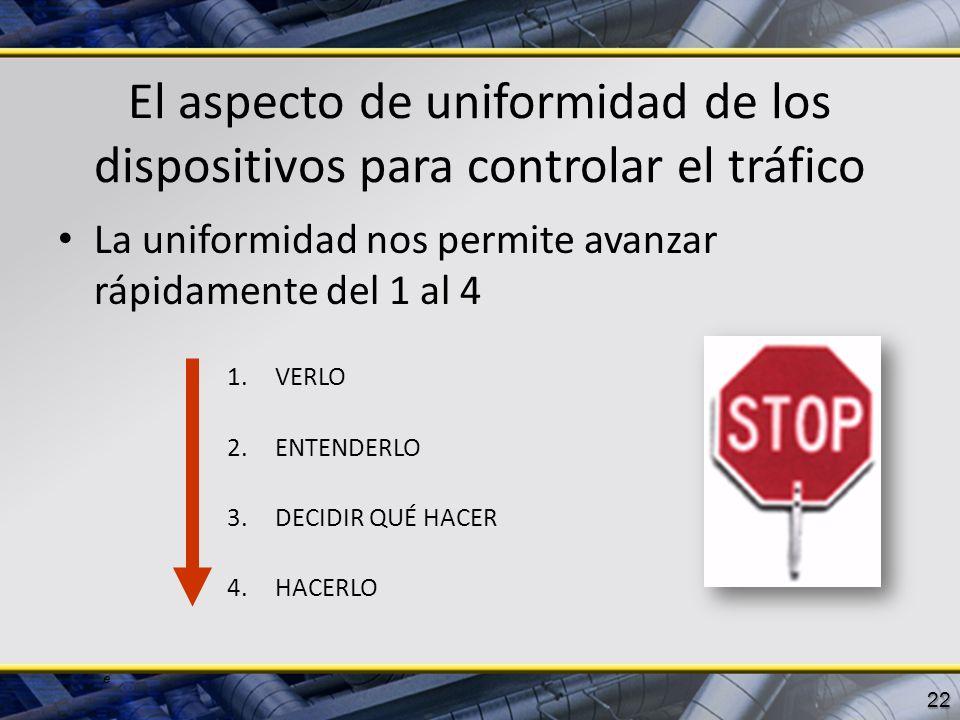 El aspecto de uniformidad de los dispositivos para controlar el tráfico