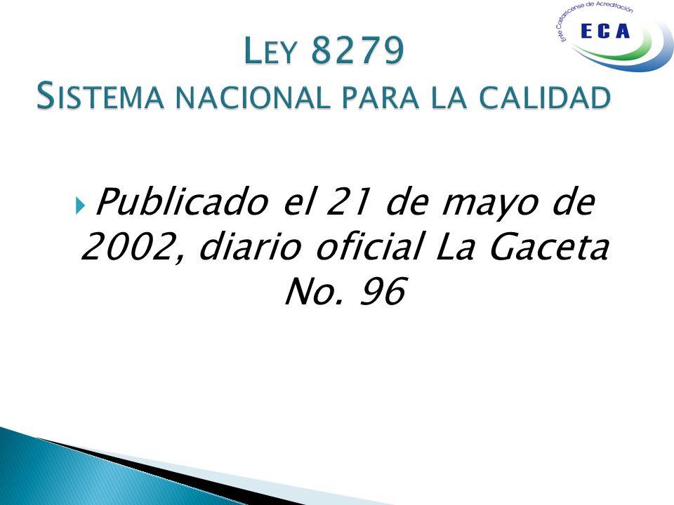 Ley 8279 Sistema nacional para la calidad