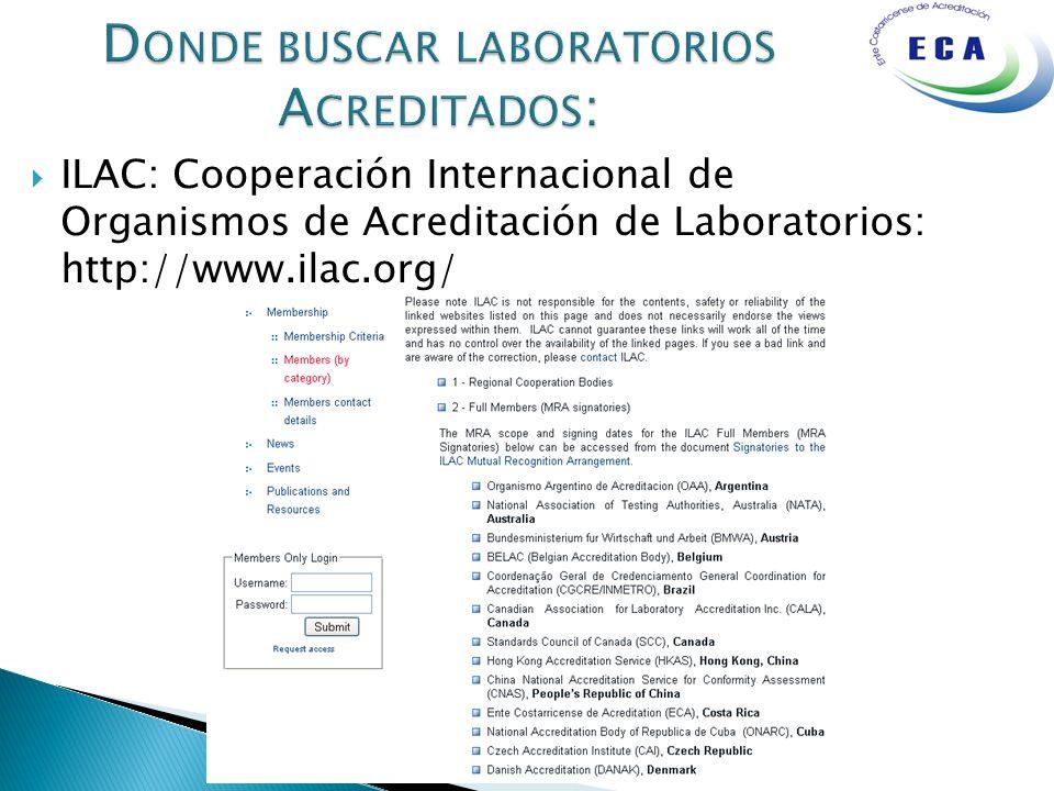 Donde buscar laboratorios Acreditados: