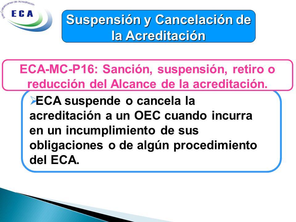 Suspensión y Cancelación de la Acreditación