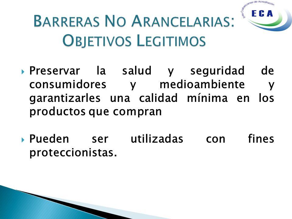 Barreras No Arancelarias: Objetivos Legitimos
