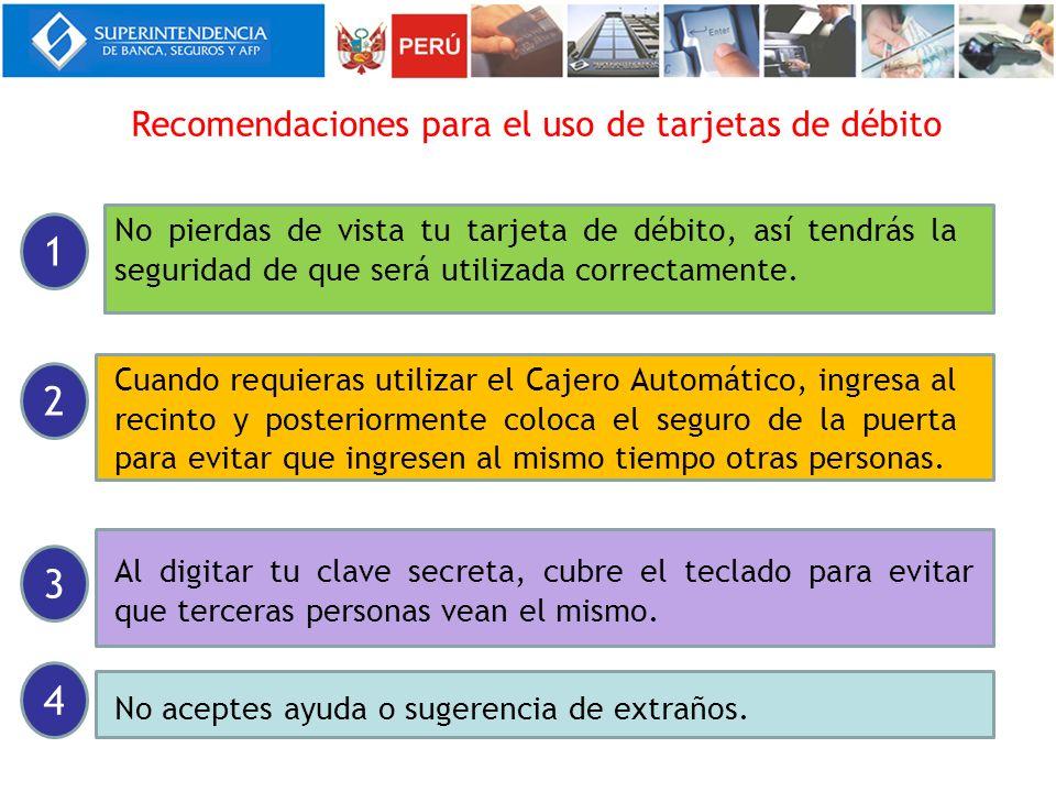 1 2 3 4 Recomendaciones para el uso de tarjetas de débito