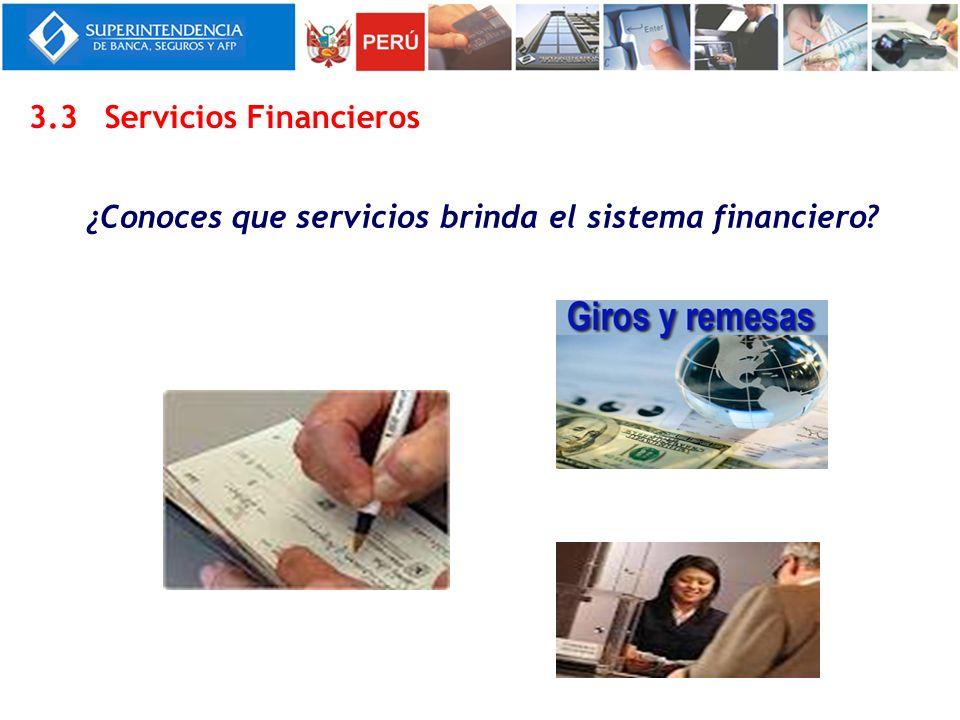 ¿Conoces que servicios brinda el sistema financiero