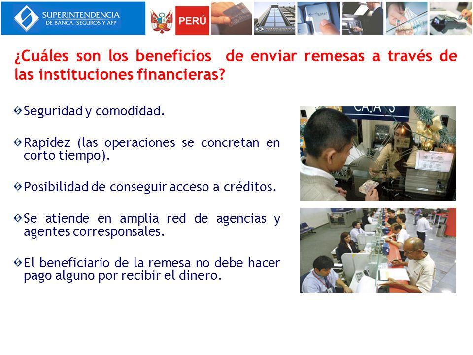 ¿Cuáles son los beneficios de enviar remesas a través de las instituciones financieras