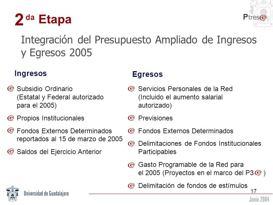2 Etapa Integración del Presupuesto Ampliado de Ingresos