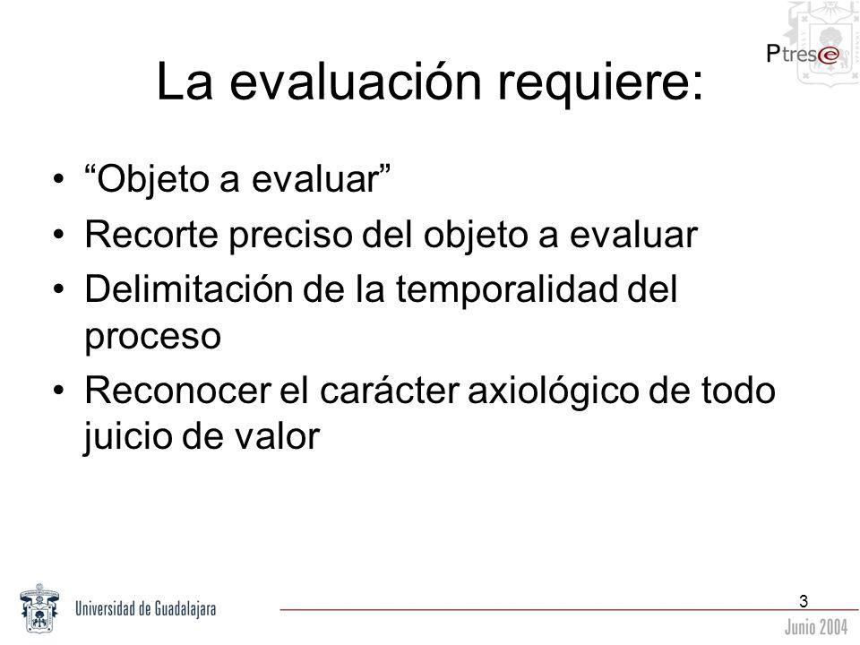 La evaluación requiere: