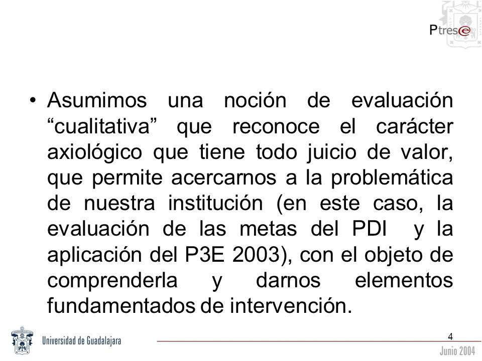 Asumimos una noción de evaluación cualitativa que reconoce el carácter axiológico que tiene todo juicio de valor, que permite acercarnos a la problemática de nuestra institución (en este caso, la evaluación de las metas del PDI y la aplicación del P3E 2003), con el objeto de comprenderla y darnos elementos fundamentados de intervención.