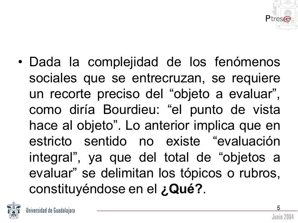 Dada la complejidad de los fenómenos sociales que se entrecruzan, se requiere un recorte preciso del objeto a evaluar , como diría Bourdieu: el punto de vista hace al objeto .
