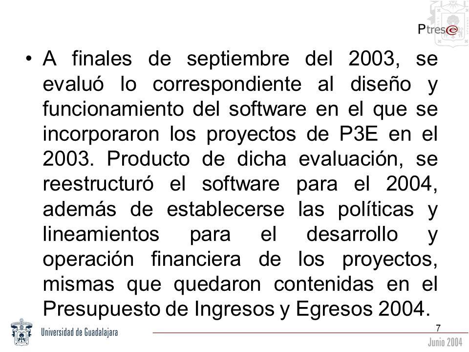 A finales de septiembre del 2003, se evaluó lo correspondiente al diseño y funcionamiento del software en el que se incorporaron los proyectos de P3E en el 2003.