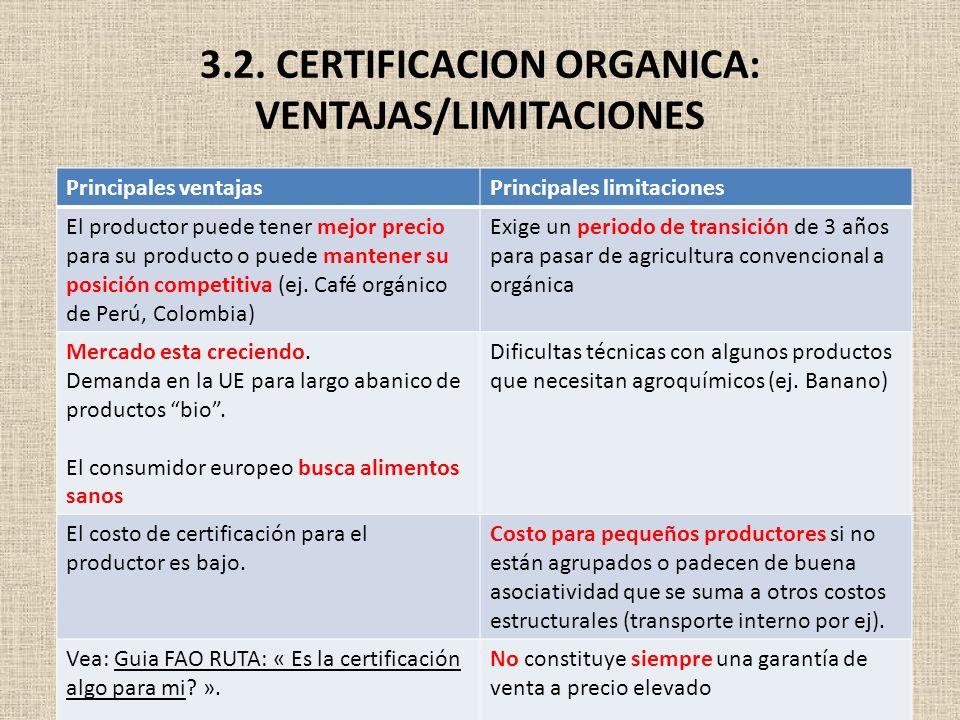 3.2. CERTIFICACION ORGANICA: VENTAJAS/LIMITACIONES