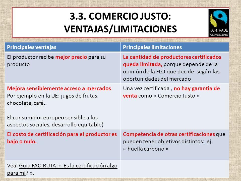 3.3. COMERCIO JUSTO: VENTAJAS/LIMITACIONES