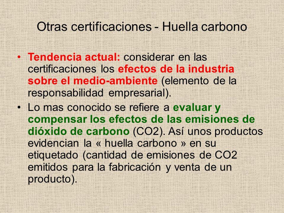 Otras certificaciones - Huella carbono