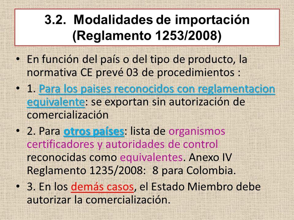 3.2. Modalidades de importación (Reglamento 1253/2008)