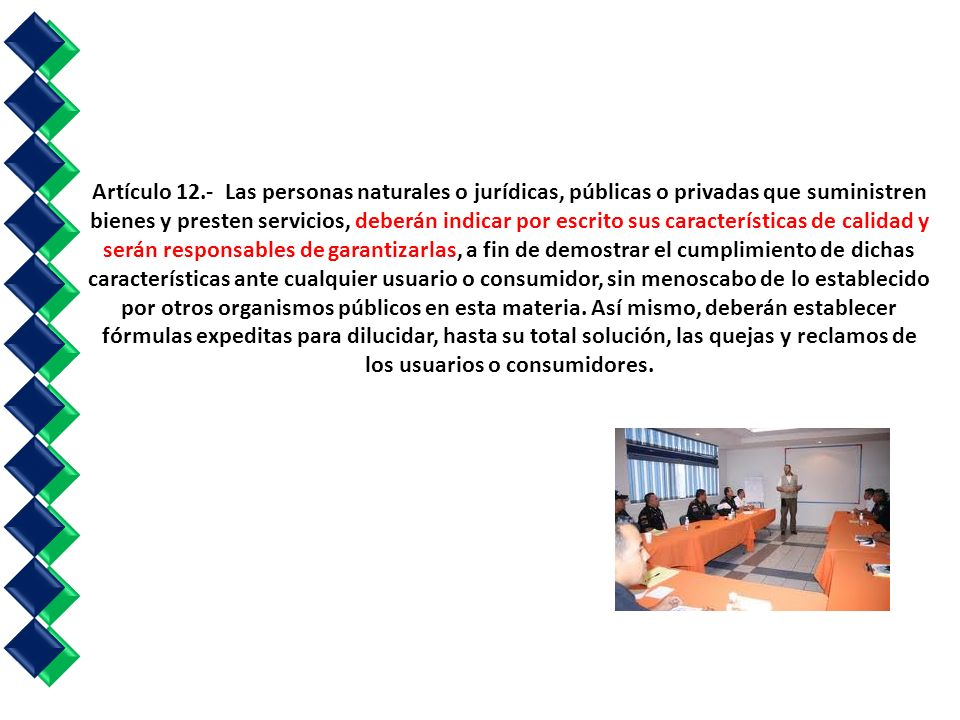 Artículo 12.- Las personas naturales o jurídicas, públicas o privadas que suministren bienes y presten servicios, deberán indicar por escrito sus características de calidad y serán responsables de garantizarlas, a fin de demostrar el cumplimiento de dichas características ante cualquier usuario o consumidor, sin menoscabo de lo establecido por otros organismos públicos en esta materia.