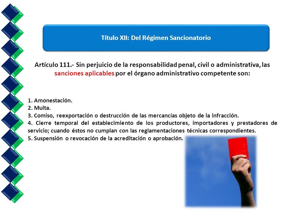 título XII: Del Régimen Sancionatorio