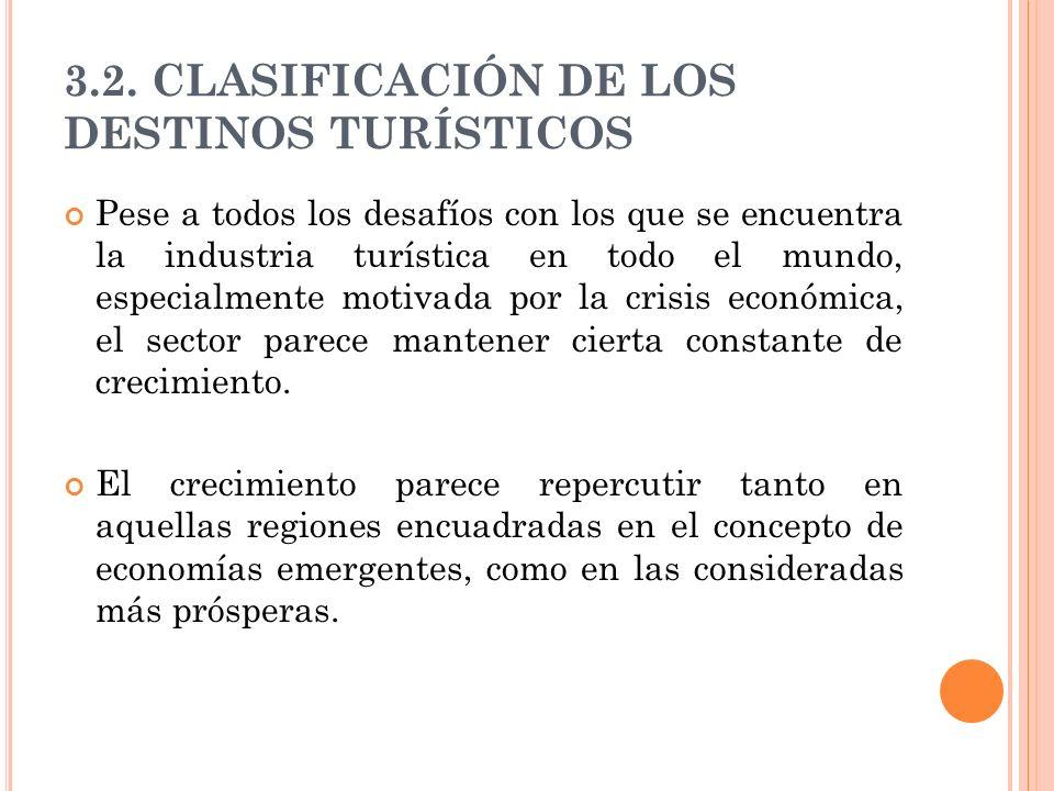 3.2. CLASIFICACIÓN DE LOS DESTINOS TURÍSTICOS