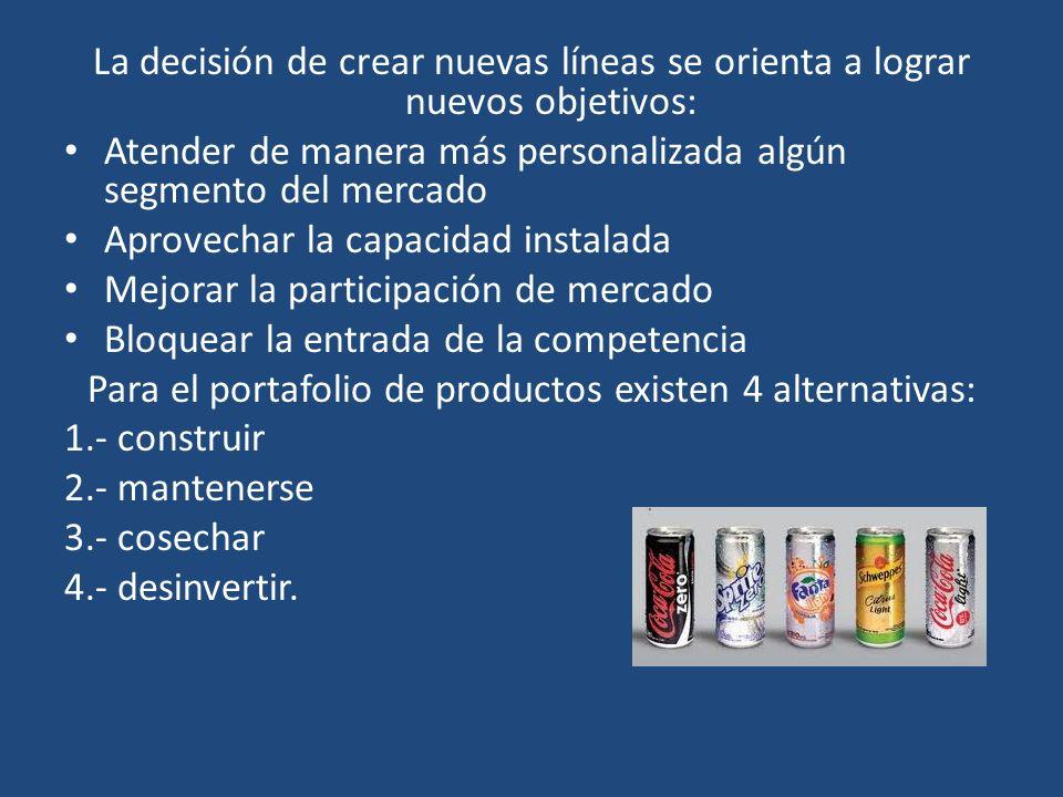Para el portafolio de productos existen 4 alternativas: