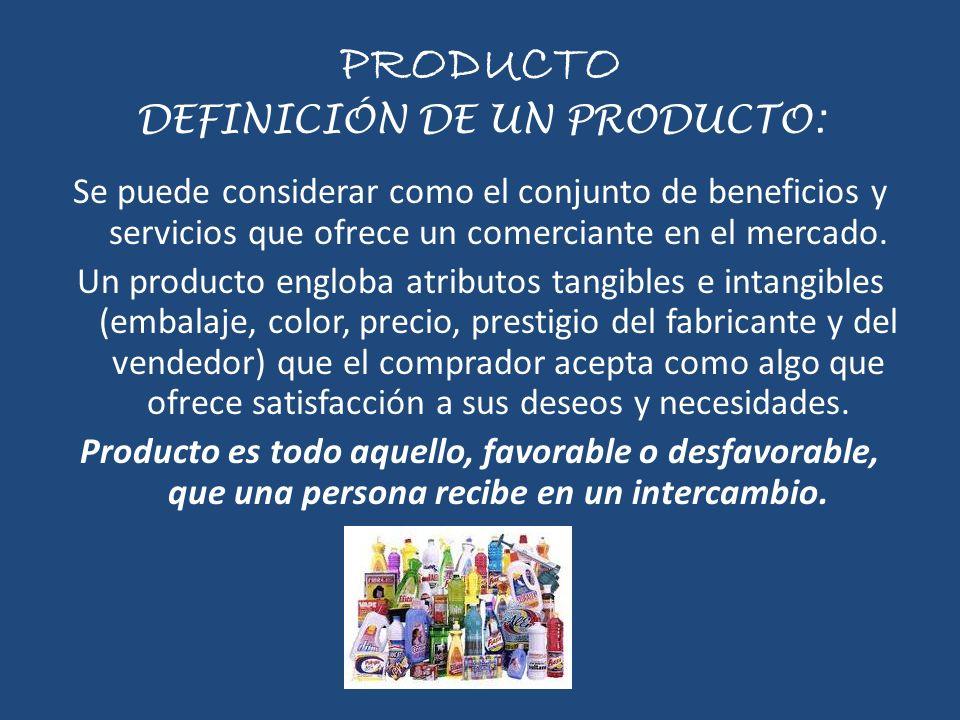 PRODUCTO DEFINICIÓN DE UN PRODUCTO: