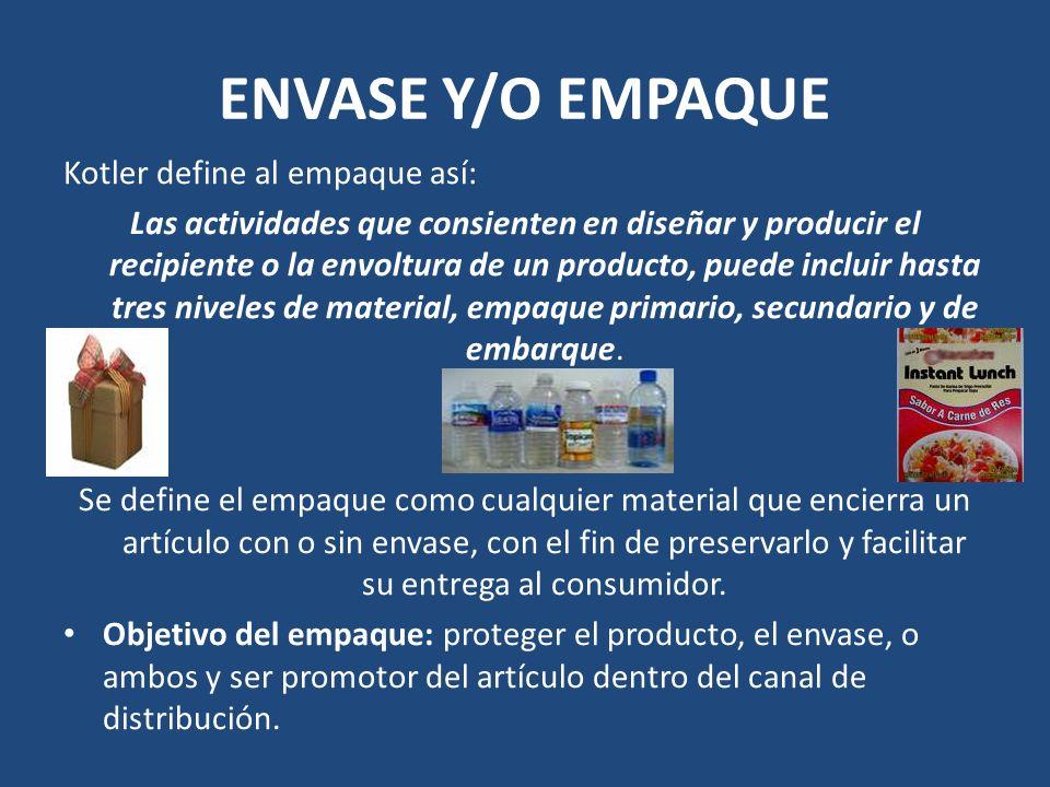 ENVASE Y/O EMPAQUE Kotler define al empaque así:
