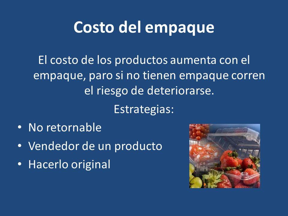 Costo del empaque El costo de los productos aumenta con el empaque, paro si no tienen empaque corren el riesgo de deteriorarse.