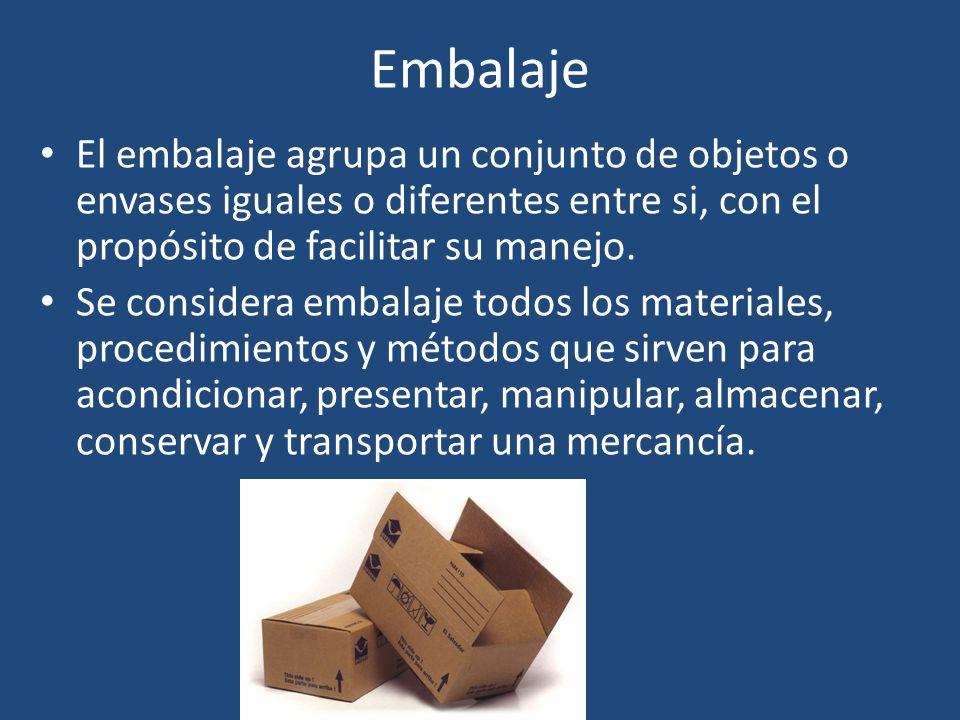 Embalaje El embalaje agrupa un conjunto de objetos o envases iguales o diferentes entre si, con el propósito de facilitar su manejo.