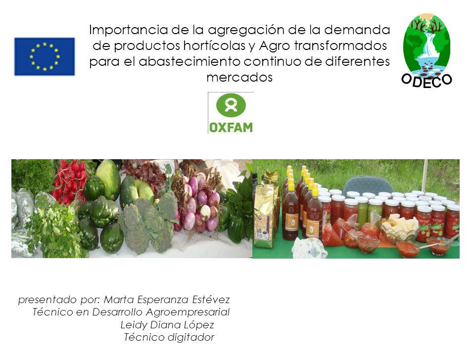 ODECO Importancia de la agregación de la demanda de productos hortícolas y Agro transformados para el abastecimiento continuo de diferentes mercados.