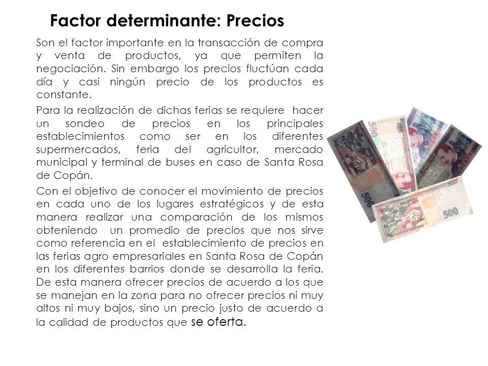 Factor determinante: Precios