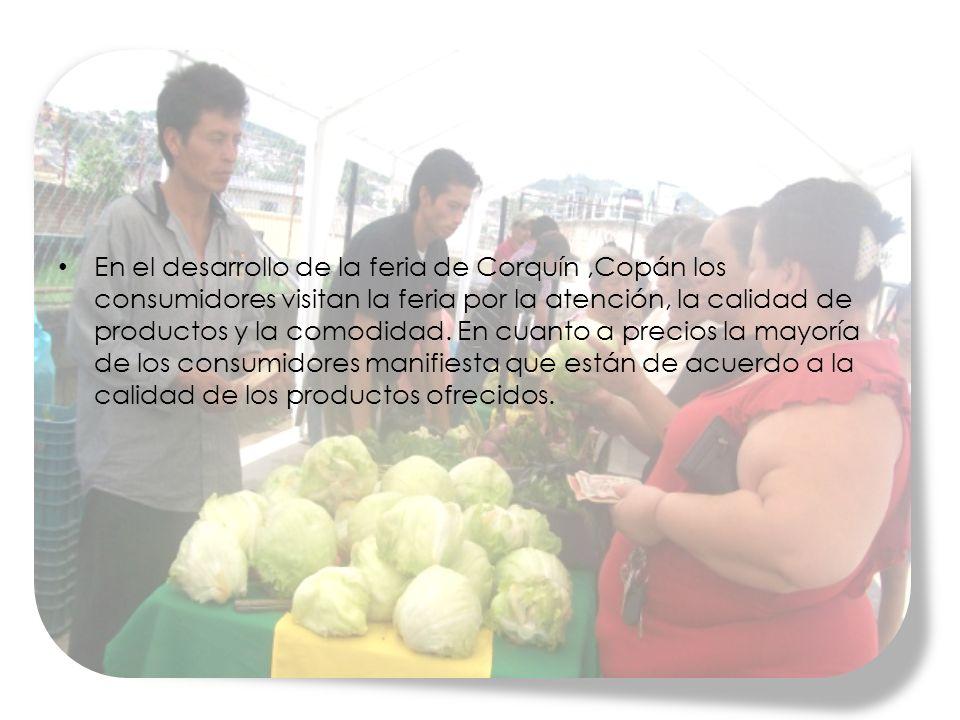 En el desarrollo de la feria de Corquín ,Copán los consumidores visitan la feria por la atención, la calidad de productos y la comodidad.