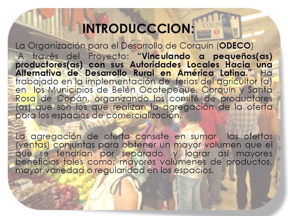 INTRODUCCCION: La Organización para el Desarrollo de Corquín (ODECO)
