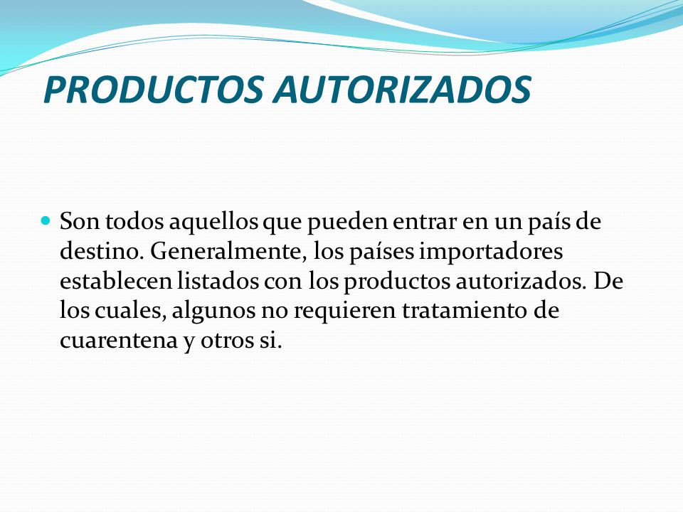 PRODUCTOS AUTORIZADOS