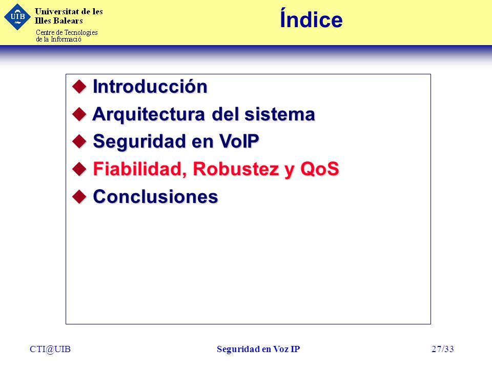 Índice Introducción Arquitectura del sistema Seguridad en VoIP