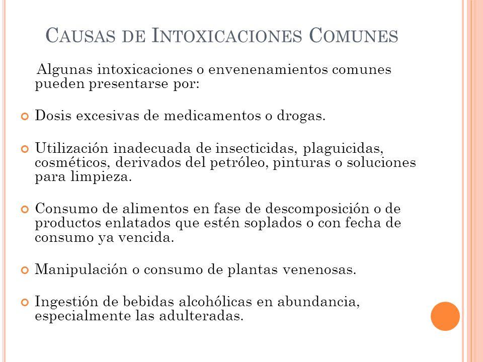 Causas de Intoxicaciones Comunes