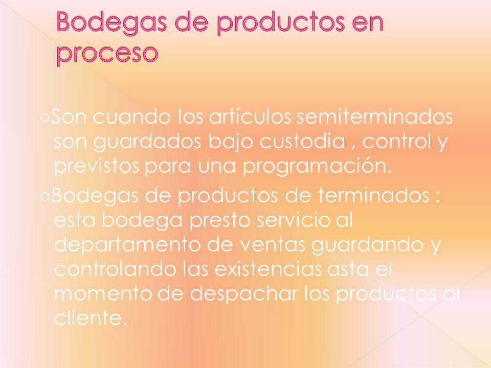Bodegas de productos en proceso